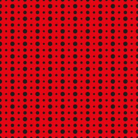 black dots: Vector pattern made with black dots over red background