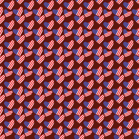 Vector pattern made with hearts with the US flag on them Illustration