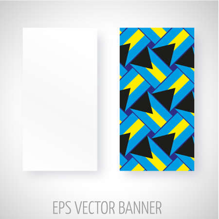 black and yellow: Vector banner with black, yellow and blue abstract decoration Illustration