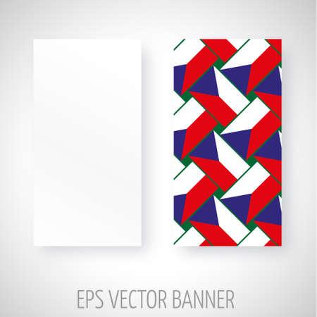 czech flag: Vector banner con Czech decorazione bandiera Vettoriali