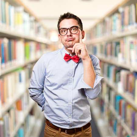 Man wearing a red bow tie.