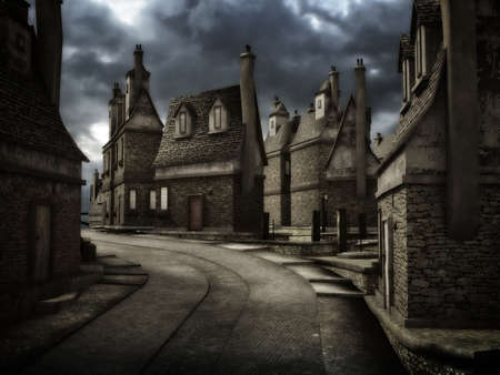 Dark and mysterious mood 3D illustration of medieval-style town street