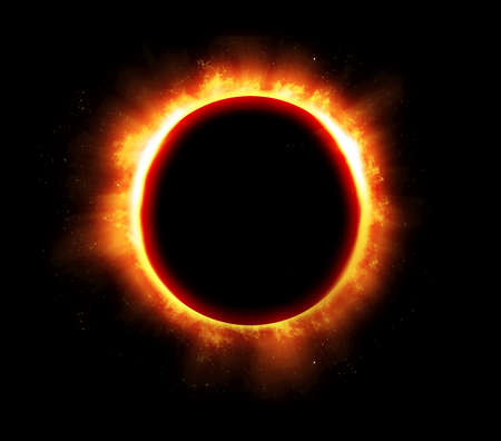 2d illustration showing maximum phase of total solar eclipse