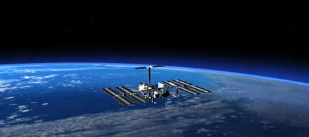 space station: International Space Station In Space. 3D Scene.