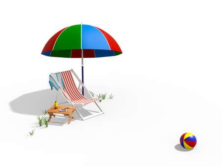 Cène d'été rendu 3D isolé sur blanc