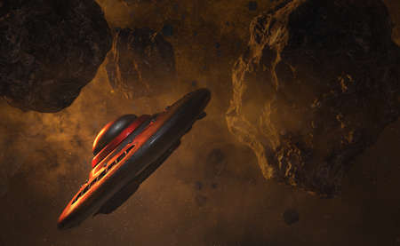 UFO flying through the asteroid field 3d render Stockfoto