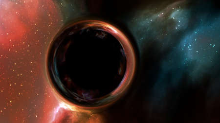 black hole with gravitational lens effect in front of space nebula 版權商用圖片