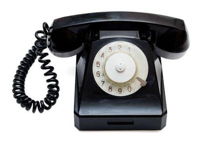retro telephone: Black retro telephone on white with path