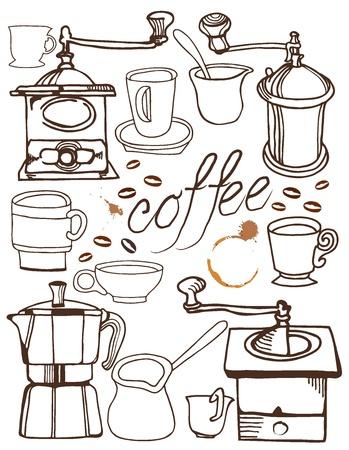 sign maker: antique coffee background Illustration