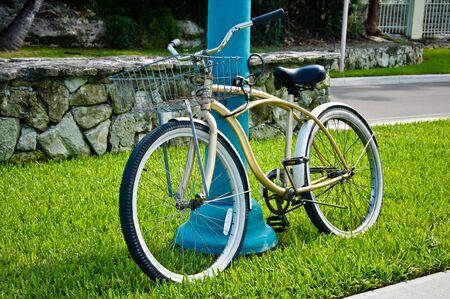 bicicleta retro: Bicicleta retro en la hierba verde