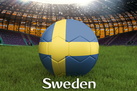 Sweden football team ball on big stadium background. Sweden Team competition concept. Sweden flag on ball team tournament in Russia. Sport competition on green grass background. 3d rendering