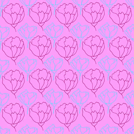 flower buds contour vector seamless pattern botanical illustration heads of flowers on a contrasting background Illustration