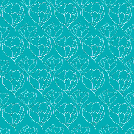 flower buds contour vector seamless pattern botanical illustration heads of flowers on a contrasting background 写真素材 - 167150299