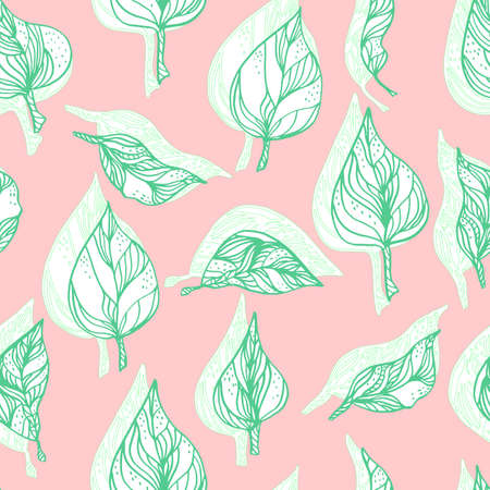 leaves with ornaments and stripes.Vector seamless pattern contour leaves with a contrast shadow