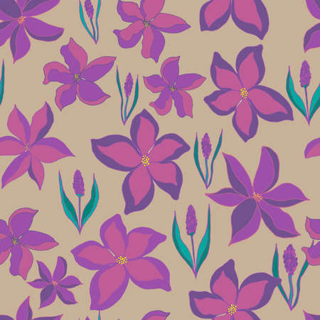 Vector seamless pattern of flower buds and sprigs of lavender with leaves. Botanical illustration for fabrics, textiles, wallpaper, paper, invitations, cards, backgrounds. Hand drawing