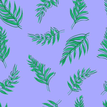 seamless pattern vector palm leaves green leaves and contours on background. For textiles, packaging, fabrics, wallpapers, backgrounds, invitations. Summer tropics 写真素材 - 167150384