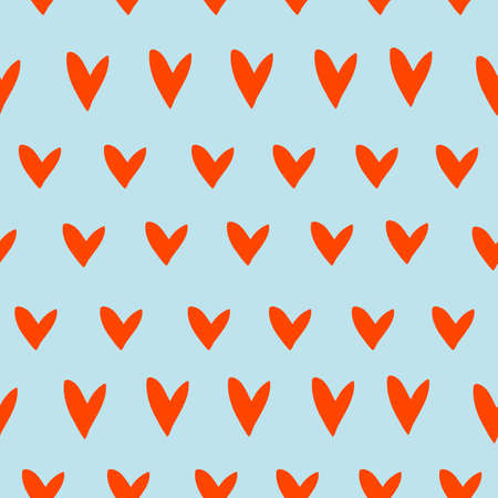 vector seamless pattern small uneven hearts in rows