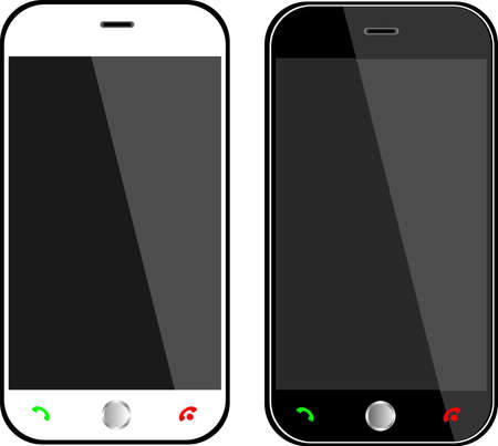 Realistic black and white mobile phone with blank screen
