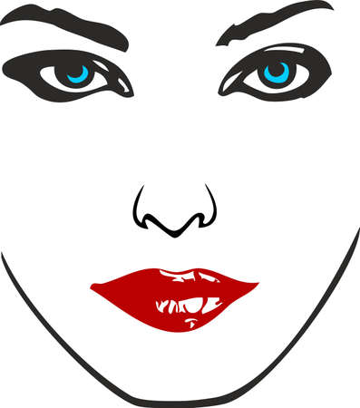 close up face: woman face illustration