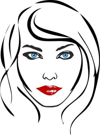 여자 얼굴 그림 일러스트