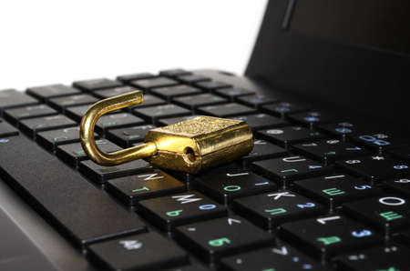 open laptop keyboard with lock Stock Photo - 19848122