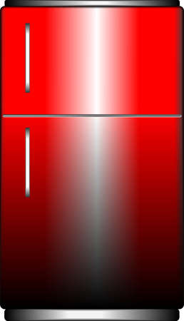 Red retro refrigerator isolated on a white photo