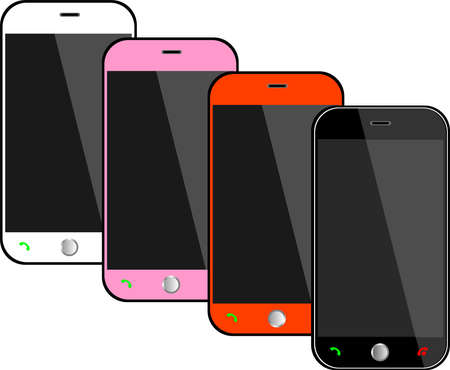 Realistic black mobile phones with blank screen isolated on white, Vector