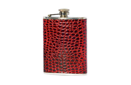 hip flask: Hip flask isolated on white background  Stock Photo