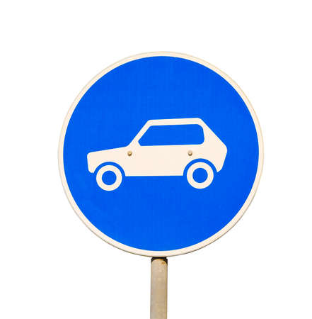 Road sign car traffic on a blue background photo