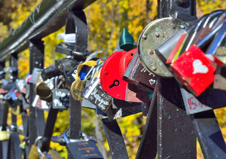 keylock: Lovers locks on the fence of the bridge