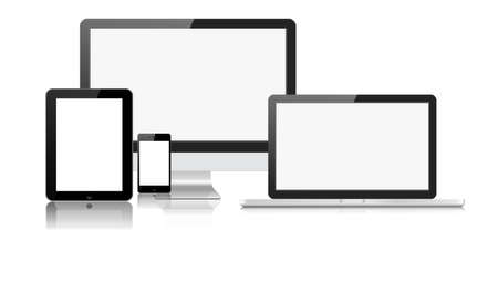 laptop: vector illustration modern monitor, computer, laptop, phone, tablet on a white background Illustration
