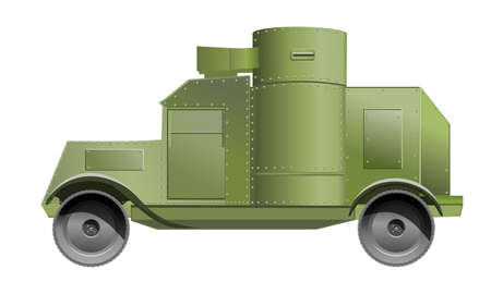 impenetrable: Vintage and retro armored car isolated on white Illustration