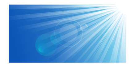 Sun with lens flare. Blue vector background Vector