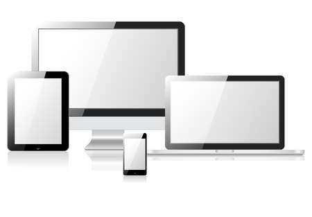 pocket pc: vector illustration modern monitor, computer, laptop, phone, tablet on a white background Illustration