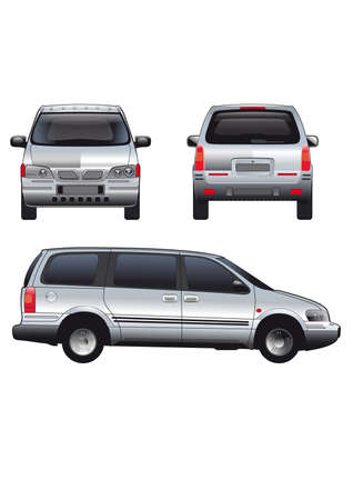 panel van:  service car template. White blank commercial vehicle - delivery van Illustration