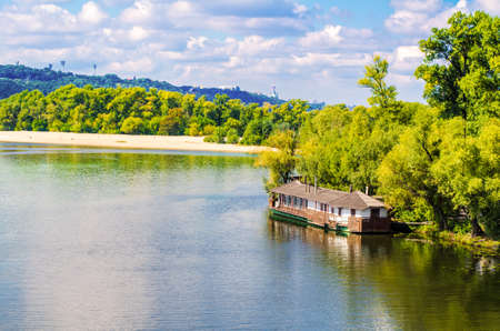 panorama the left bank of the Dnieper and a restaurant on the river in Kiev Stock Photo