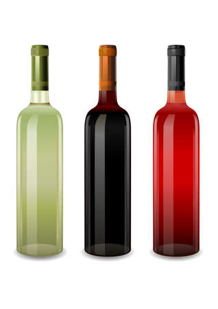 chardonnay: bottles of wine rosy, red and white vector Illustration