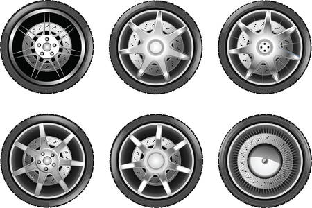vulcanization: Vector car tire icons. Wheels isolateted on white