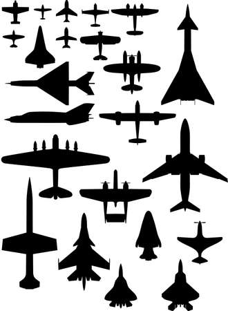 vector airplane icons: passenger plane, fighter plane, screw