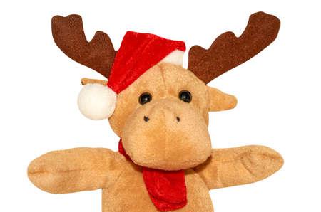 Christmas Series. Holiday deer in red hat