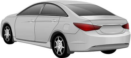 sedan: White Sedan Car isolated on the white background