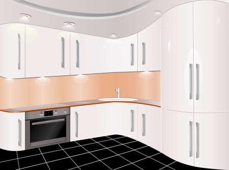 kitchen furniture: Kitchen with furniture. Flat style vector illustration