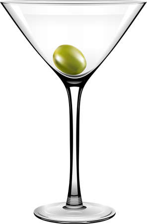 garnish: Vector Olive Martini Glass on a white background
