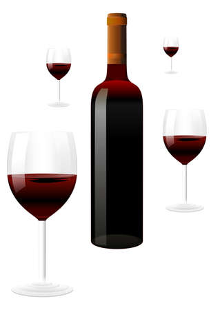 red wine: vector red wine bottles and glasses on white background