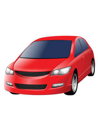 front wheel drive: red car isolated on the white background