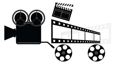 flick: Vintage Camera. Directors Clapper. Film Reels and Film