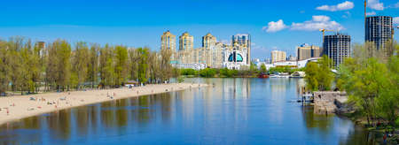 highrises: Residential highrises near the river. Apartments. Kiev Ukraine