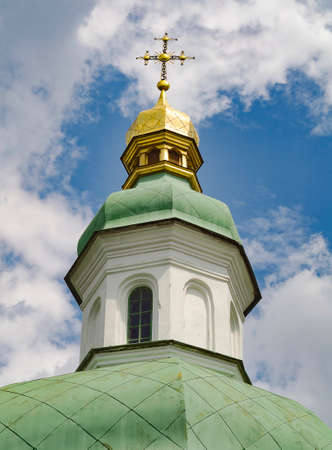 Golden dome of the Orthodox church on the blue sky background Stock fotó