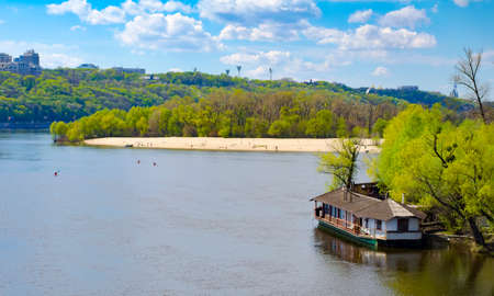 right bank: Panorama of Kiev - capital of Ukraine. Left and right bank of Dnieper river. Stock Photo