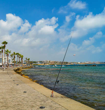 seafront: View of Paphos seafront with palm trees Stock Photo